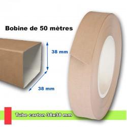 Tube carton carré en carton lisse 38x38 mm, livré en bobine de 50 mètres