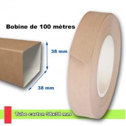 Tube en carton carré, section 38x38 mm, livré en bobine de 100 mètres