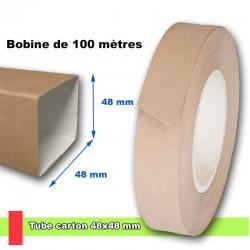 Tube carton carré 48x48 mm en bobine de 100 mètres