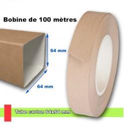 Tube carré brun sans stries 64x64 mm, livré en bobine de 100 mètres