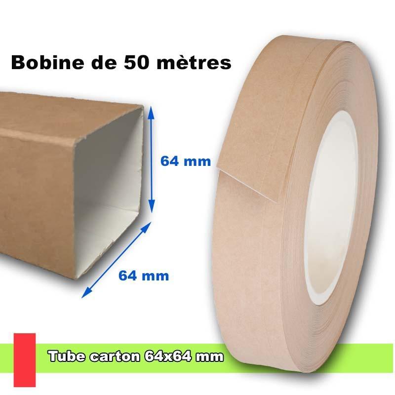 Tube en carton carré 64x64 mm, livré en bobine de 50 mètres linéaires