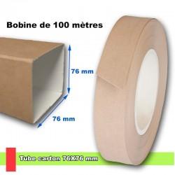 Tube en carton brun de section 76x76 mm, livré en bobine de 100 métres linéaire