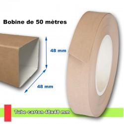 Tube en carton carré de section 48x48 mm, livré en bobine de 50 mètres linéaires.